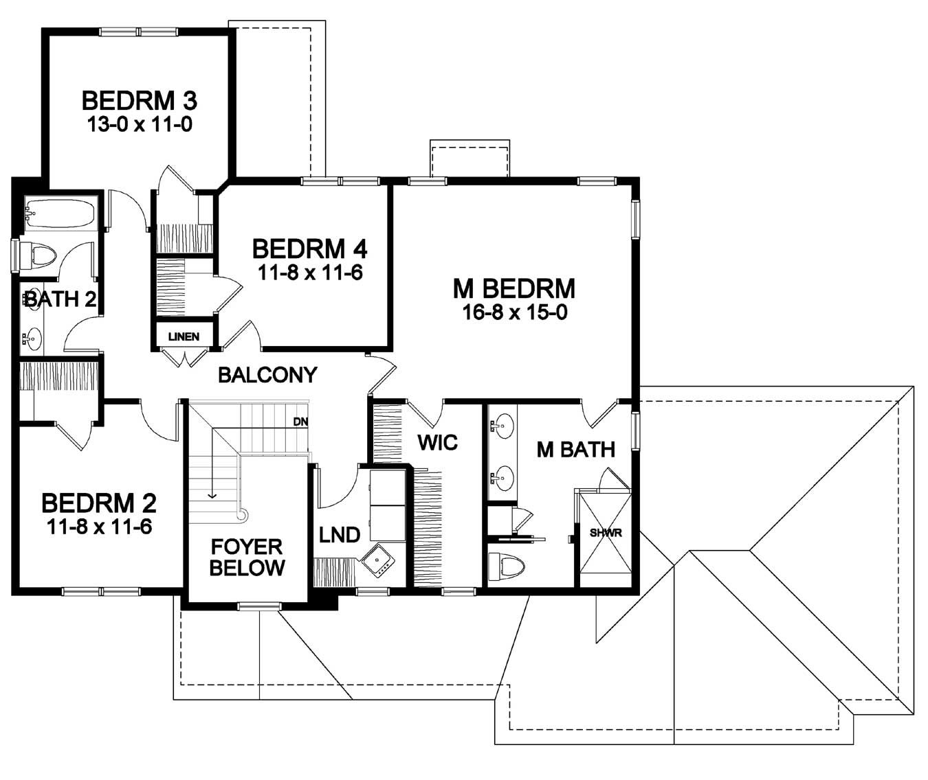 four bedrooms on second floor