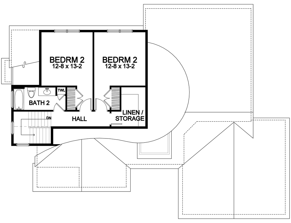 two bedrooms on second floor